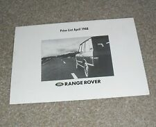 Range Rover Classic Price Guide 1988 - inc Vogue SE