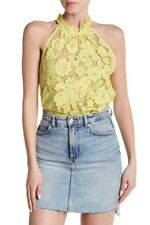 FREE PEOPLE Sweet Meadow Dreams Chartreuse Lace Romantic Top Size S $88 New