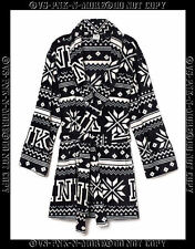 VICTORIAS SECRET PINK PLUSH PAJAMA BATH ROBE BLACK WHITE FAIRISLE SNOWFLAKE XS/S