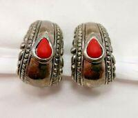 Vintage Premier Pierced Earrings Silver Red Teardrop Stone Costume Jewelry 7463F