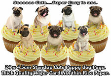 Novelty Cute Pug Puppy Mix 24 Edible Stand Up wafer paper cake toppers birthday