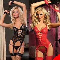 New Women's Sexy Lingerie Black Red Lace Dress+G LEBB