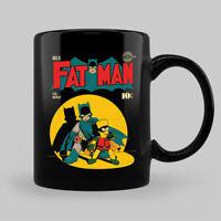 Fat Man Donut Batman Robin Comic Parody Black Coffee Mug Tea Cup
