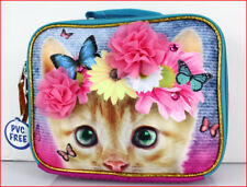 Yellow Tabby KITTY CAT Insulated LUNCH Box Bag - Pink Flowers & Jewels 🌟NEW🌟