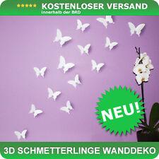 Wandtattoo Schmetterlinge 3D Style zur Wanddekoration 12 STÜCK im Set - weiß NEU