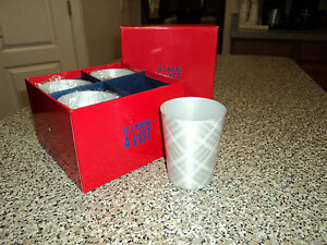NEW Set of 4 TOMMY HILFIGER Etched Aluminum Tumblers GIFT, HOME, OFFICE CUP