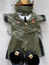 Build a Bear Army Outfit Shirt Pants Hat Shoes 4 Pieces