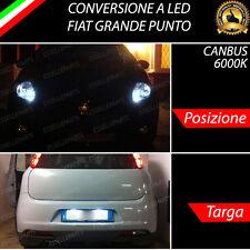 LUCI POSIZIONE A LED + LUCI TARGA A LED CANBUS FIAT GRANDE PUNTO NO ERROR 6000K