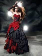 Vintage Sweetheart Ball Gown Red and Black Wedding Dress For Women Satin Custom