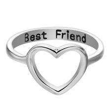2pcs Lady Love Heart Best Friend Ring Promise Jewelry Friendship Rings Band US 7 Silver