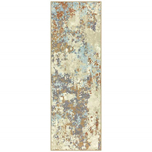 Maples Rugs Southwestern Stone 2 x 6 Distressed Style Non Skid Hallway Entry in