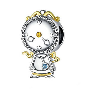 Jewelled Beauty and the Beast Magic Clock Sterling Silver Bead, Charm or Pendant