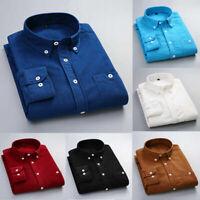 US Autumn Men's Casual Shirt Long Sleeve Corduroy Cotton Dress Shirts Top Blouse