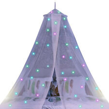 Lovely Kids Canopy Hanging Dome Tent Mosquito Bed Net Glow in Dark Star Decor
