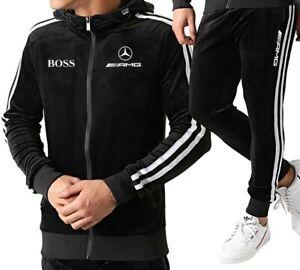 Survêtement homme velours noir bandes blanches logo AMG Mercedes TX635-1