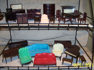 Vintage Renwal, Plasco, Hard Plastic Doll House Furniture - Lot Of 24 Pieces