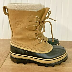 Sorel Caribou Womens Size 8 Winter Snow Lined Boots Suede Leather Made In Canada