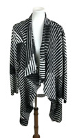 Chicos Travelers Collection Women Sze 3 XL Cascade Cardigan Sweater Crinkle Open