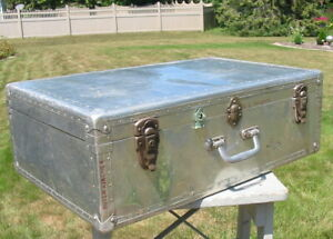 Vintage Metal Aluminum Trunk Suitcase 1956 Hong Kong Travel Luggage Military Old