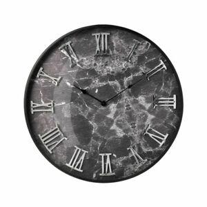 XL Black Marble Effect Wall Clock