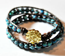 Double Wrap bracelet Beaded Leather Artisan Boho turquoise czech pearls beads