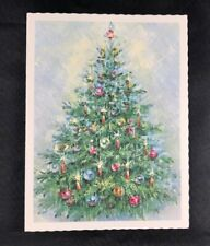 VINTAGE Mid Century CHRISTMAS TREE Glitter Card Alfred Mainzer Unused card