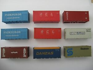 VARIOUS HO GAUGE 9 X 20FT SHIPPING CONTAINERS - VARIOUS MAKES