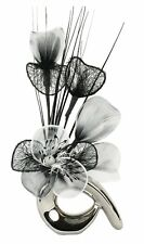 Flourish 798543 QH1 Silver Vase with Black and White Nylon Artificial Flowers in