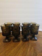 "8 Vintage Noritake SPOTLIGHT Walnut Brown Glass 6"" Water Goblets EUC"