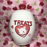 Happy Valentines Day Kitty Cat Treats Cookie Biscuit Jar Red Puffy Heart Lid