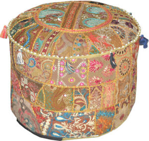 Indian Handmade Patchwork Pouf Cover Footstool Seating Round Ottoman Pouf Cover
