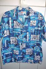 Hilo Hattie  Mens XL  Modern Honu & Floral Tapa Squares on Blue Barkcloth/Mint