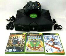 Microsoft Xbox Gaming Console w/ Controller S Power AV Cable & 3 Games Tested