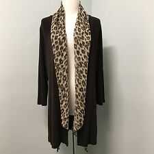 Chicos Travelers 0 S Open Front Leopard Animal Scarf 3/4 Slv Womens Cardigan Top