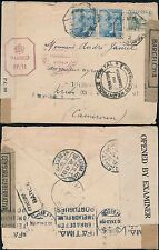 SPAIN to CAMEROUN 1943 via PORTUGAL + AOF...4 CENSORS...ZARAGOZA CANFRANC TPO