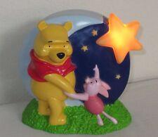 Disney Pooh & Piglet Looking at Moon & Stars Plastic Bank w/Timed Night Light