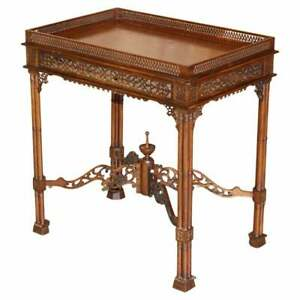 19TH CENTURY THOMAS CHIPPENDALE FRET WORK CARVED SILVER TEA OCCASIONAL TABLE