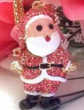 Betsey Johnson Sparkling Ho Ho Pink Santa Crystal/ Enamel Inlay Pendant Necklace