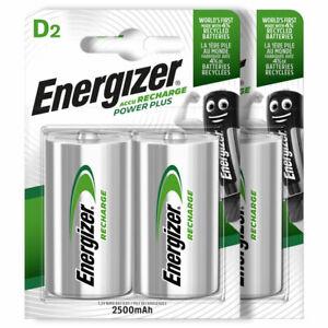 4 x Energizer Rechargeable D Size batteries Recharge Power NiMH 2500mAh LR20