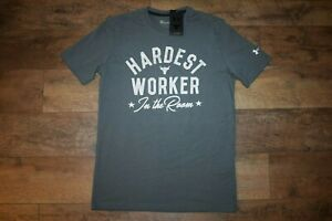 Under Armour Men's Project Rock Hardest Worker T-Shirt 1735 Size XXL (Gray) NWT