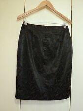 max NZ grey  coffee leaf print stretch satin skirt  pencil