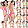 Women's Swimwear Solid Color Bikini Sexy Spandex Three-Point Swimsuit Fashion ZN