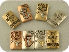 """2 Hole Beads """"I'm Really a Mermaid"""" Engraved Silver Copper Gold ~ Sliders QTY 8"""