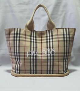 BURBERRY Plaid Rubber Base Large Shoipper's Tote Bag