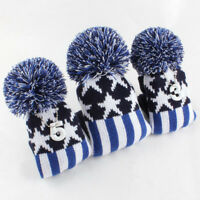 USA Wood #1 3 5 Pom Head Covers Knit Sock Golf Driver Fairway Blue Headcover New