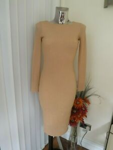 TOPSHOP BEIGE PEACH GOLD SHIMMER WIGGLE BODYCON DRESS SIZE 8 LADIES BNWT RP £40