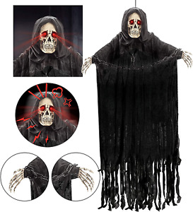 """60"""" Animated Hanging Grim Reaper with Chain and Creepy Sound"""