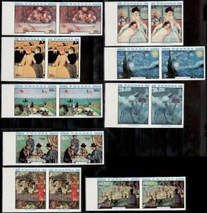 Rwanda Sc983-91 Painting, Renoir, Gogh, Cassatt, Gauguin, Cezanne, Imperf Pair.