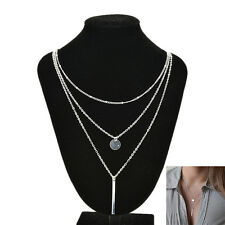 Pop sell 3 Layers Women Silver Chain Coin Chain Statement Pendant Necklace  ao