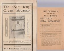 W.F. HUNT'S VINTAGE CREAM SEPARATOR GROUP OF BROCHURES AND ADS